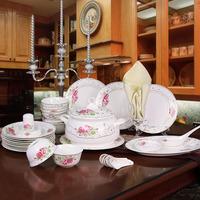 特价11省包邮 景德镇56头骨瓷餐具套装 温馨花语 釉上彩绿色环保