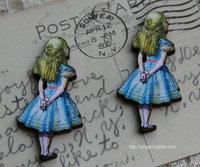 进口木制配件 爱丽丝系列单款-背面爱丽丝 手工饰品配件diy