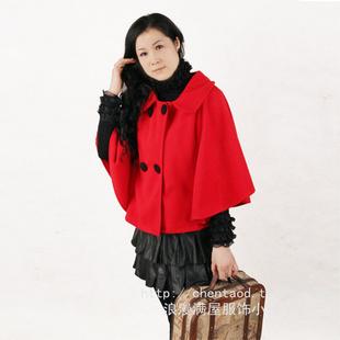 2014秋装质女装可爱披肩红色斗篷蝙蝠袖毛呢外套秋冬披风
