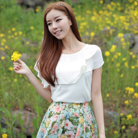 +Korean+temperament+little+fresh+shirt+sleeveless+chiffon+shirt+chiffon+shirt+blouse