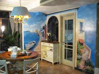 墙体彩绘 壁画 手绘墙 彩画 墙画艺术背景 地中海之舟