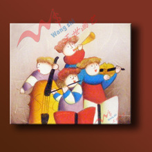 The child draws the hallway stairs instrument music big violin hand-drawn cartoons jump dance practice piano room children room painting
