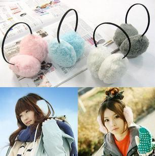 Korea women cute fluffy ear covers faux rabbit fur on  ear cover ear cover ear warmer