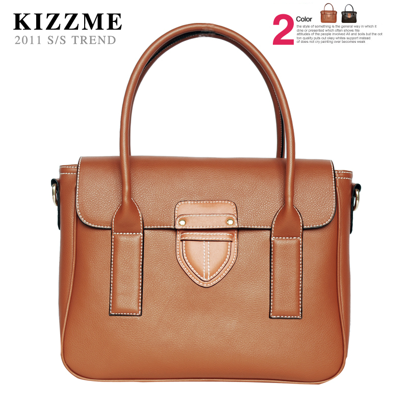 Shoulder leather handbag