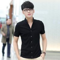夏装新款立领衬衫男纯棉短袖修身男士黑色夏韩版潮休闲中山黑衬衣