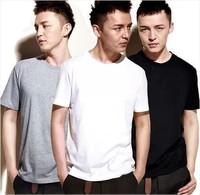 纯白色t恤 男 短袖宽松 纯黑纯色t恤批发 素色半袖纯棉圆领打底衫