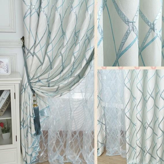 维格 进口高密提花鸟巢条纹窗帘 卧室客厅加厚高档遮阳窗帘定制