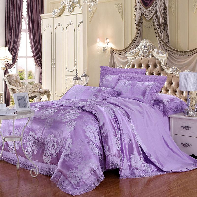 天丝莫代尔四件套婚庆家纺床上用品贡缎提花活性印染床单被套包邮