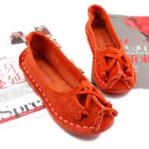 夏秋休闲新款个性蝴蝶结手工缝线百搭超舒适磨砂牛皮平底单鞋女鞋