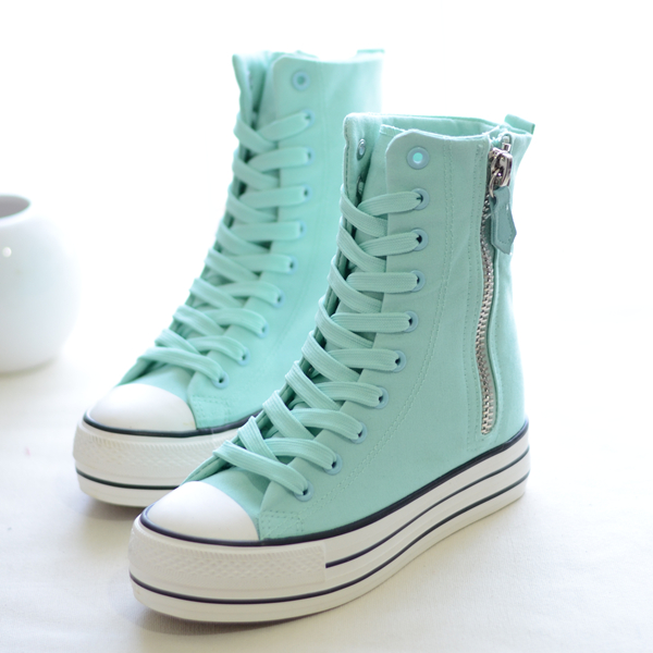 2014 new style high-top canvas beauty sweet muffin casual shoes increased zipper shoes Korean fashion shoes