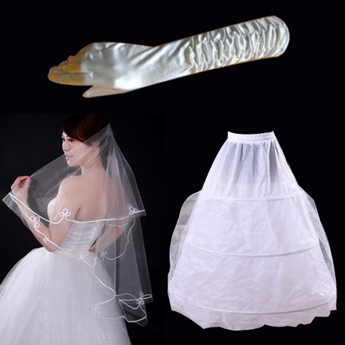 Wedding dress necessary three-piece suite 2013 new bride wedding dress veil hand slip bridal supplies