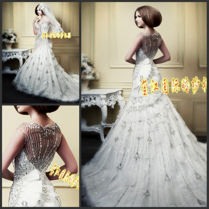 Свадебное платье Xi Jiang wedding dress xj8822 2012 Сетчатый материал Русалочий хвост Императорский