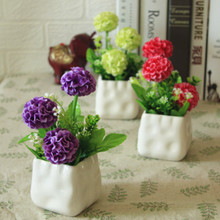 (Special Price Every Day) Plastic Flower Artificial Roses Hydrangeas, Lilies Table Dresser Set Pot Ornaments