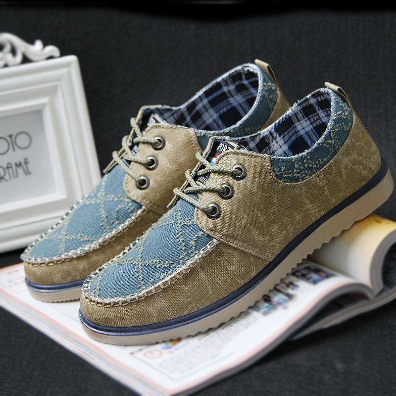 正品低帮新款系带英伦风牛仔布帆布鞋韩版男士休闲鞋子潮男鞋单鞋