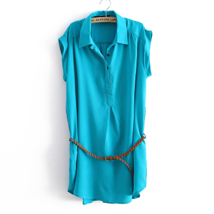 2012 Summer  solid color short sleeve new Korean temperament DCF sent loose dress belt WC1138