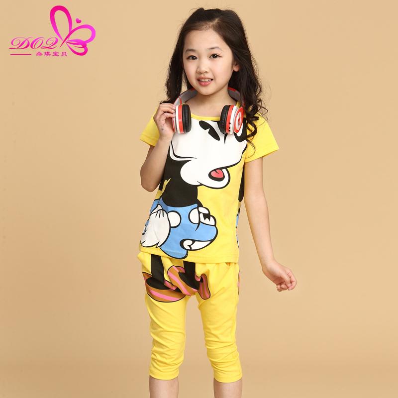 中大童装夏装运动套装新款韩版男女童卡通T恤+儿童七分裤两件套装
