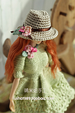 [ Xi ] rice girl flower in full bloom . Beige knit small hat (MOMOKO, Barbie doll and other small head applicable )