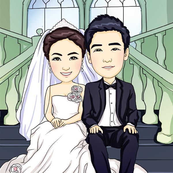 【南追】q版人物设计写实q版头像结婚照片转漫画迎宾牌生日礼物