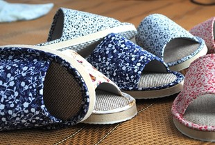 Ruin  family end of new flax cool slippers soft female home-couple cotton slippers home slippers men home