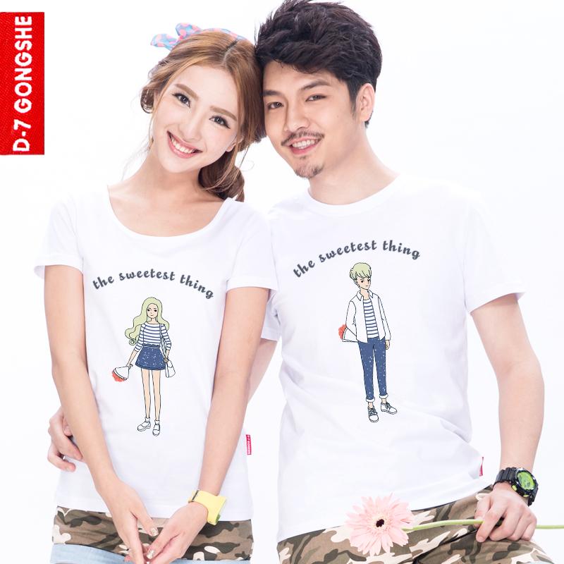第七公社 2014新款原创情侣装夏装简约风甜蜜的事纯棉圆领短袖t恤