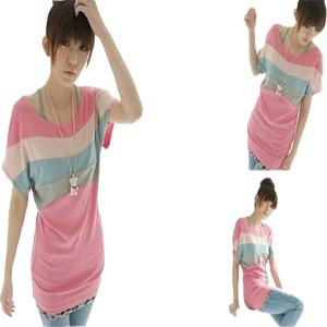 2011夏裝新款促銷韓版女裝熱賣可愛繽紛四色拼接寬松上衣T恤
