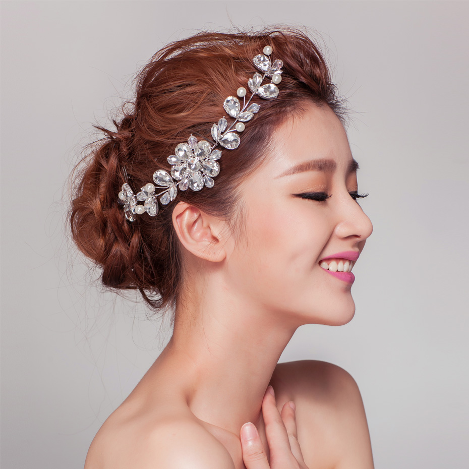 Ultra Luxury Diamond Bridal Hair Accessories Korean Wedding With