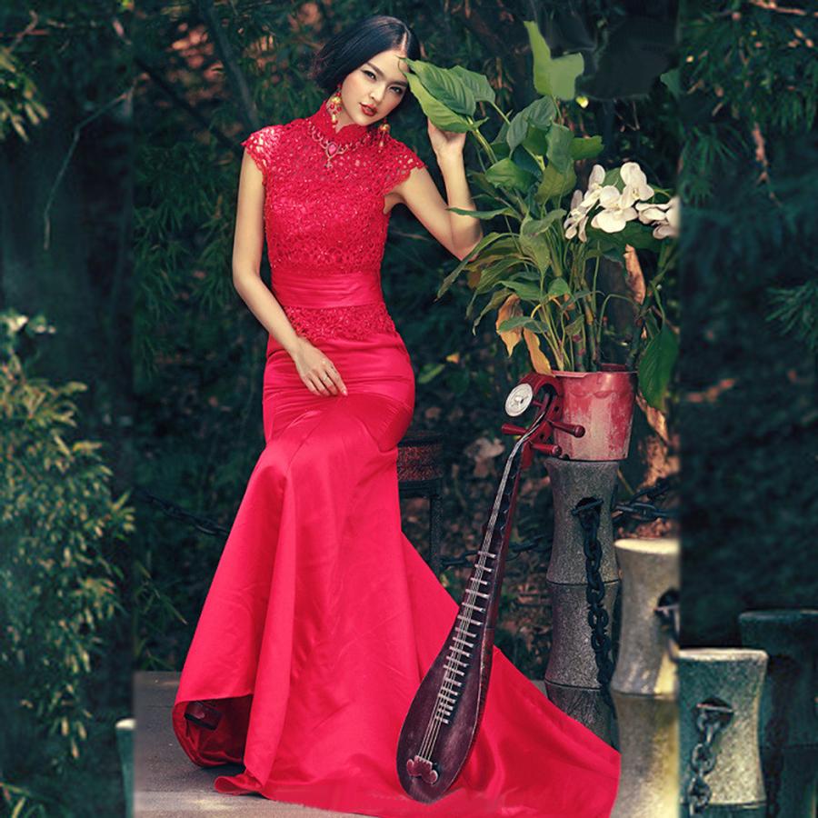 锦绣前铖 2013新款新娘婚纱礼服红色 蕾丝小拖尾显瘦鱼尾小礼服