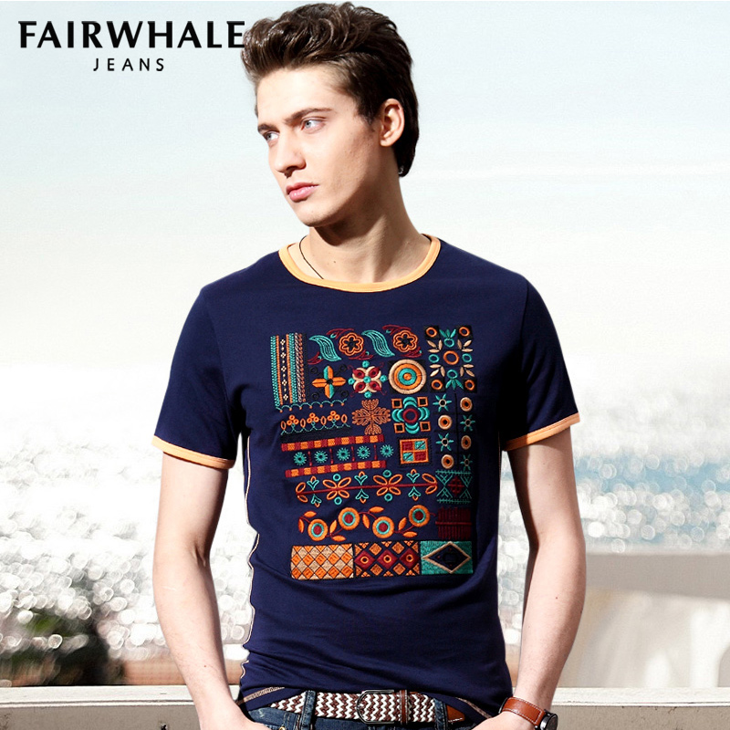 Mark Fairwhale Short sleeve T-shirt new summer 2014 Han edition men's cotton T-shirt city boy Taobao Agent