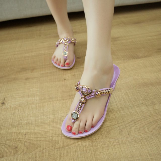 14 Summer Korean version of the new diamond clip toe sandals women flat shoes with beaded flat sandals shoes college students wind