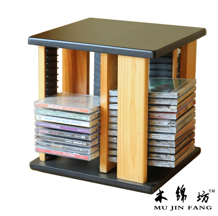 Solid Wood Kam Fong Disc Cd Rack Cd Rack Cd Rack Rotating Rack Large
