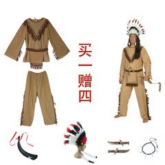 万圣节感恩节玛雅印第安人男女舞会派对表演服装 印第安家庭套装