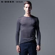 【多件多折】sdeer圣迪奥专柜正品男春休闲长袖薄针织T恤3370216图片