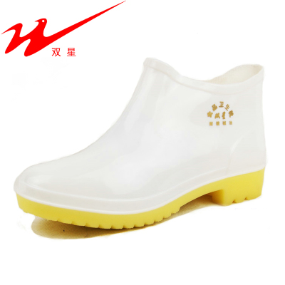 Food binary white rain boots men and women in tube ingot mouth Duantong boots work shoes to help low shoes chef