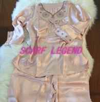 女士真丝睡衣套睡衣二件套/长袖长裤睡衣套/米色/100%真丝素缎