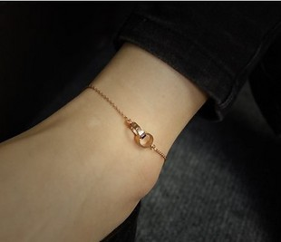 Love ornaments Yuki mini steel 14K rose gold-plated titanium ring anklet winnings Korea anklet female jewelry