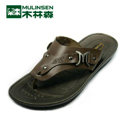 Linsen counter genuine leather casual men's shoes summer sandals clip toe shoes SM1230861-1 drag