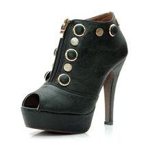 促销日式街头个性复古罗马铆钉圆钮高跟女鞋 高跟防水台鱼嘴凉鞋
