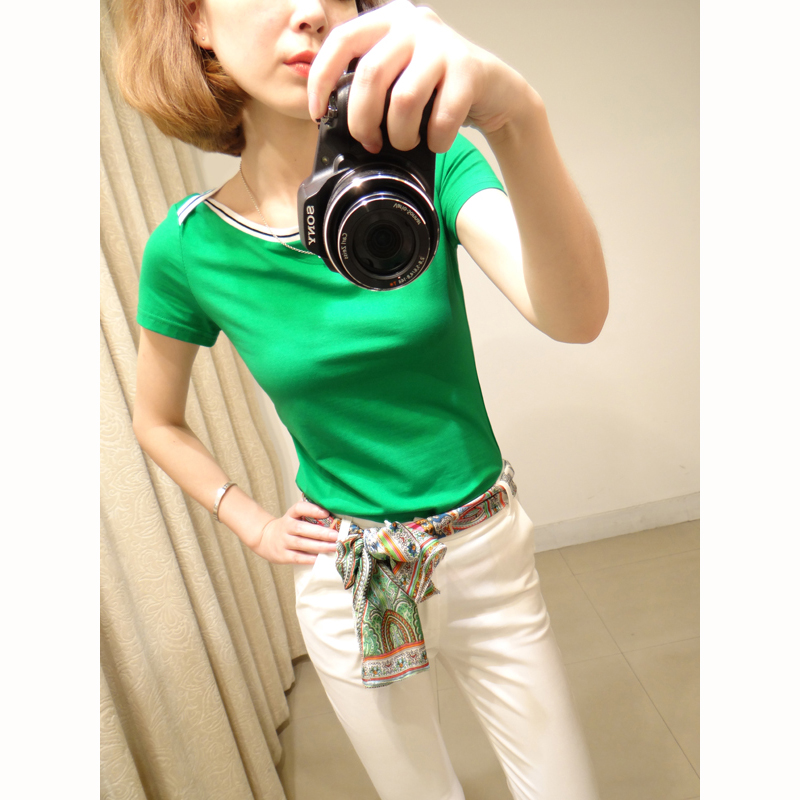 New summer 2014 dress of cultivate one's morality show thin joker stitching color female Z981 short sleeve T-shirt render unlined upper garment  Taobao Agent