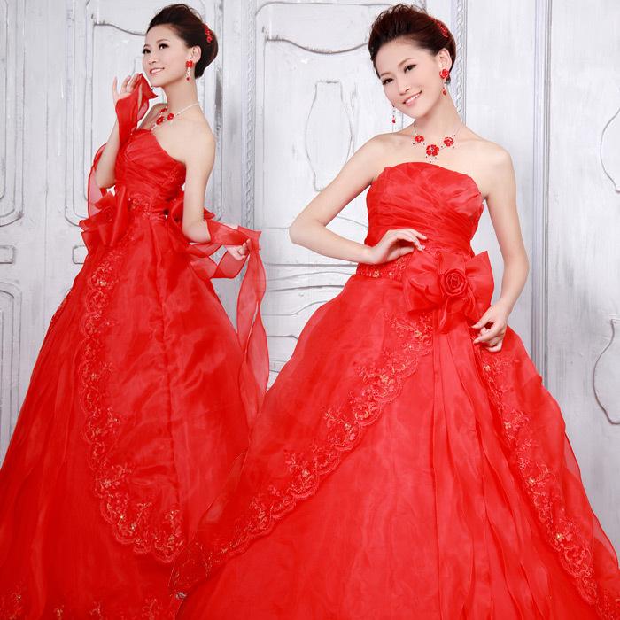 红色唯美蕾丝时尚婚纱齐地婚纱 韩版公主超长蝴蝶结 大码婚纱礼服胖mm显瘦