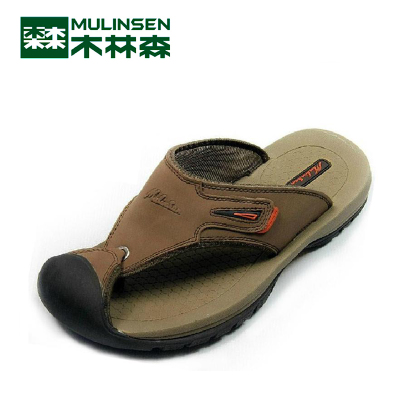 Linsen counter genuine male casual sandals beach slippers M1233012 suture soft leather, drag