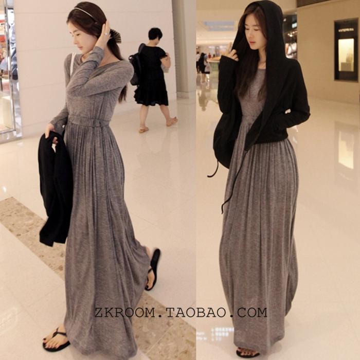 Женское платье Корея аутентичные длинные Пелерина сплошной цвет серии, талии богини Джокер подол платья