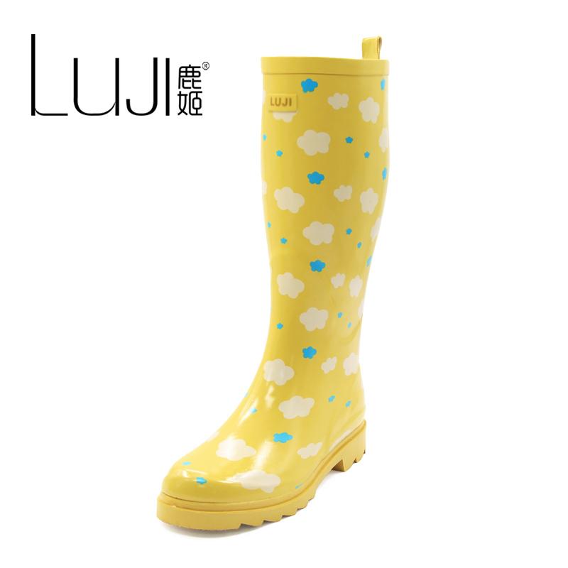 鹿姬 2014新款清新 女士雨鞋 雨靴 高筒舒适浮云套鞋 水鞋胶鞋