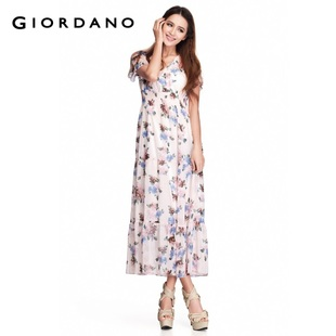 Recommend Giordano trousers in summer 2012 new stock of ladies ' elegant continuous dress length v neck chiffon dress 01162030