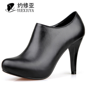 About Asian women boots shoes leather women boots black and nude in autumn and winter in Europe and platform high heels short boots 737