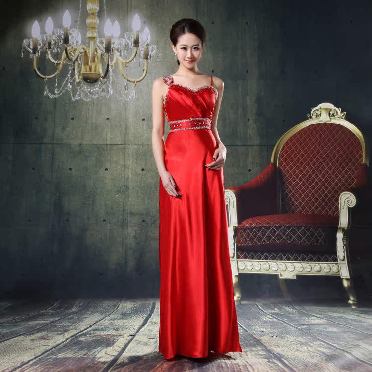 特价性吊带韩版结婚季新娘结婚敬酒婚纱坠地晚礼服长款钉珠长礼服