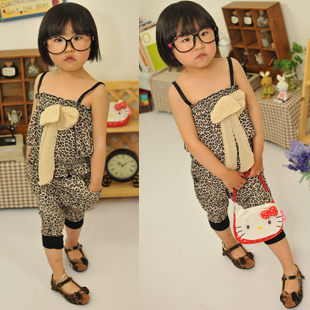 Girls Leopard Camisole set of Korean leisure suit child harness shirts + Leopard pants Korean