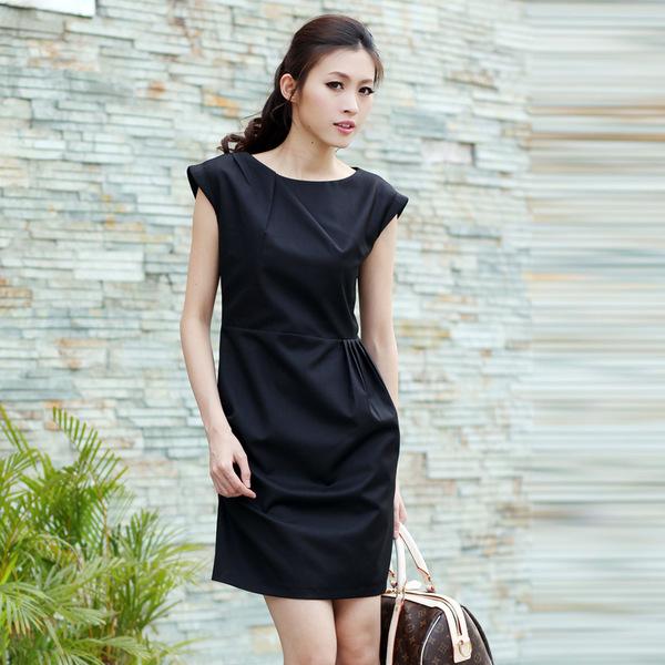 韩版加大码女装 OL职业气质修身纯色连衣裙