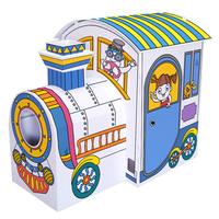 魔卡童手绘屋儿童DIY涂色创意玩具 火车形态超大游戏帐篷窝纸房子