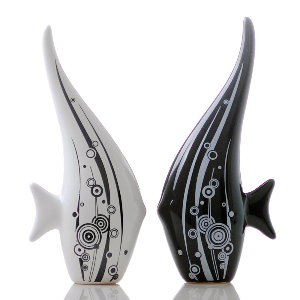 黑白现代时尚简约创意可爱陶瓷情侣对鱼摆件 瓷器工艺