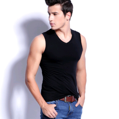 A Baoji Special fashion men dress shirt dress tight sleeveless vest Korean summer men